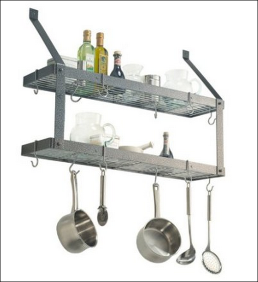 wall mount double bookshelf pot rack