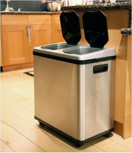 Bon Stainless Steel Kitchen Trash Recycling Bin Combo