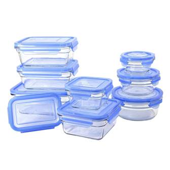Blue Glasslock 18-Piece Glass Food Storage Container Set
