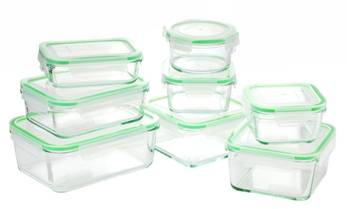 Kinetics GOGREEN 16-Piece Glass Food Storage Containers
