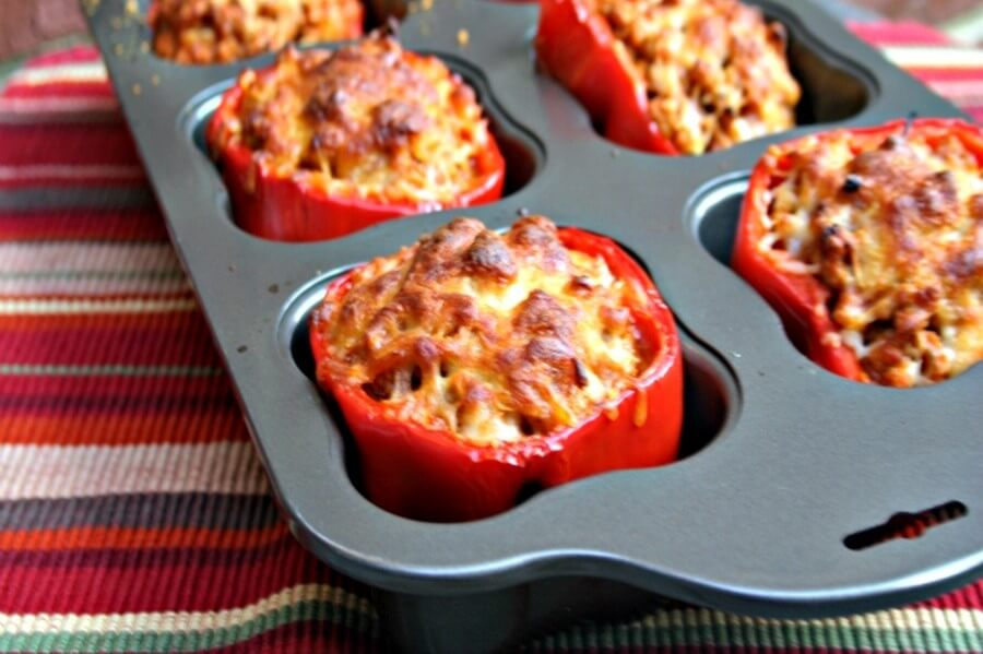 Turkey Stuffed Red Bell Peppers